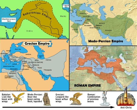 "The four ""beasts"" or empires culminate with the Antichrist."