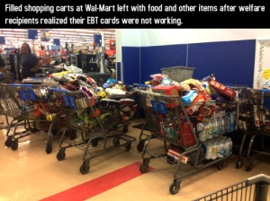 Shopping carts filled with food going bad...