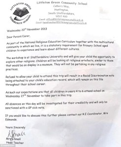 The letter that threatened to classify students as racists...