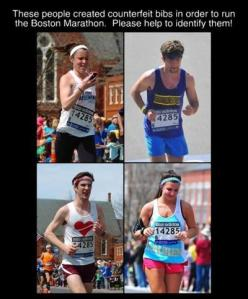 Examples of illegitimate runners with fake bibs and numbers.