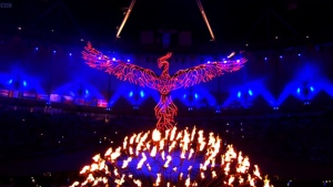 The Phoenix rising from the ashes representing the New World Order during the 2014 Olympics.