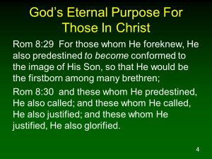 Do you know what your eternal purpose is, as far as God is concerned and His plan for you in this life?