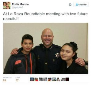 A photo alleged to be from Chief Eddie Garcia's own Twitter account showing his participation at a local La Raza event.