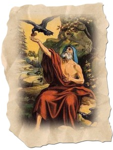 Elijah being fed by ravens, sent by God to perform His will.