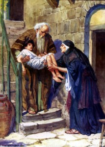 In God's power, Elijah raises the widow's son back to life.