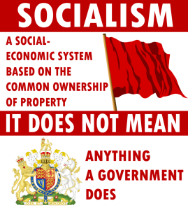"The problem with this definition is that it implies that Socialism runs itself. There needs to be some type of ""governing"" board, which becomes the government for that ideology. It cannot sustain itself unless someone or a group of people are in charge of sustaining it. That is a type of government."